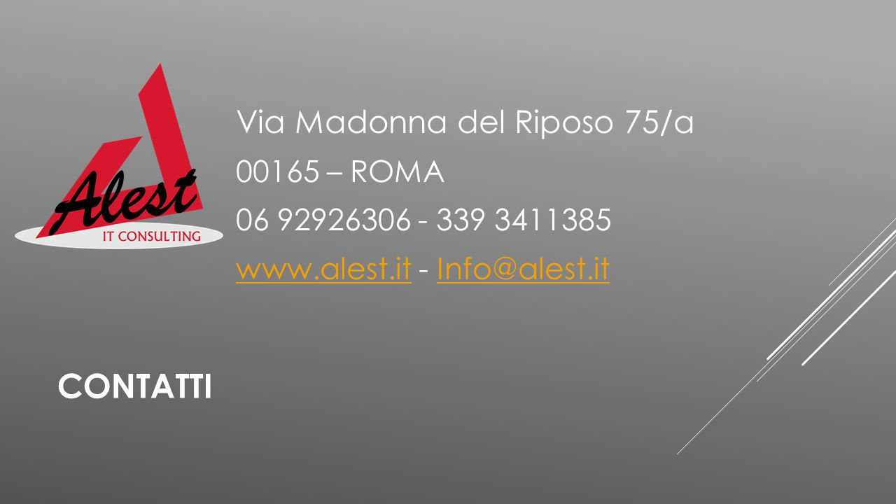 CONTATTI Via Madonna del Riposo 75/a 00165 – ROMA