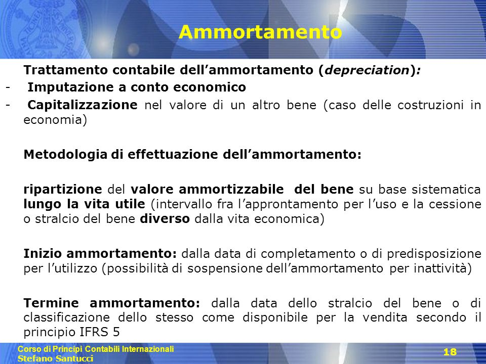 Ammortamento Trattamento contabile dell'ammortamento (depreciation):