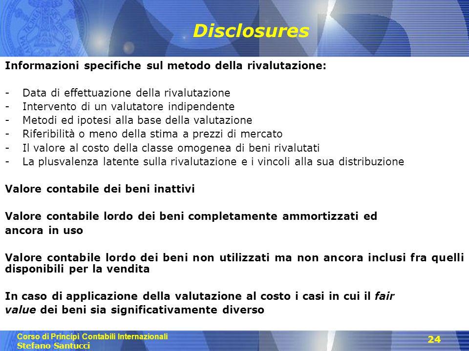 Disclosures Informazioni specifiche sul metodo della rivalutazione:
