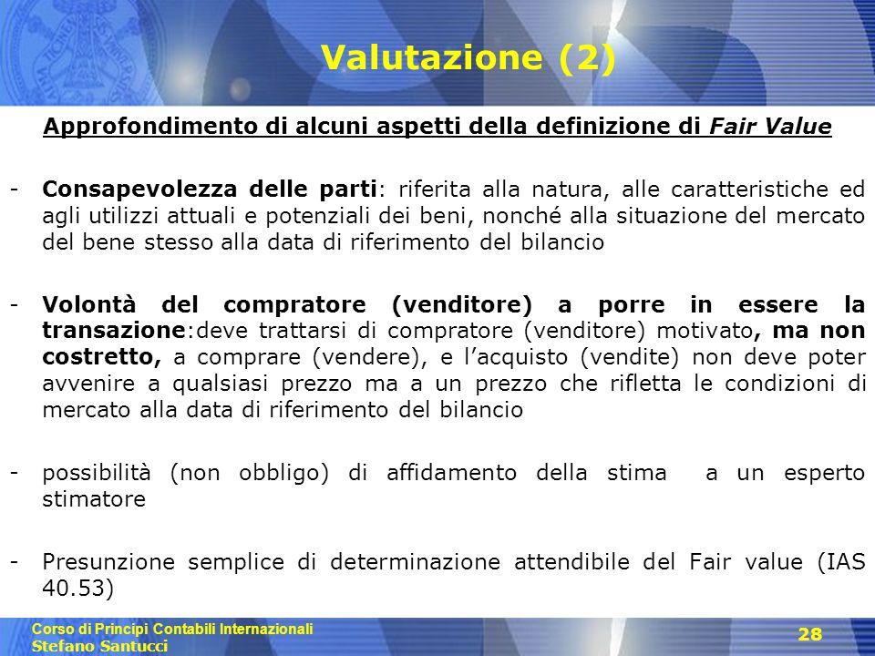 Approfondimento di alcuni aspetti della definizione di Fair Value