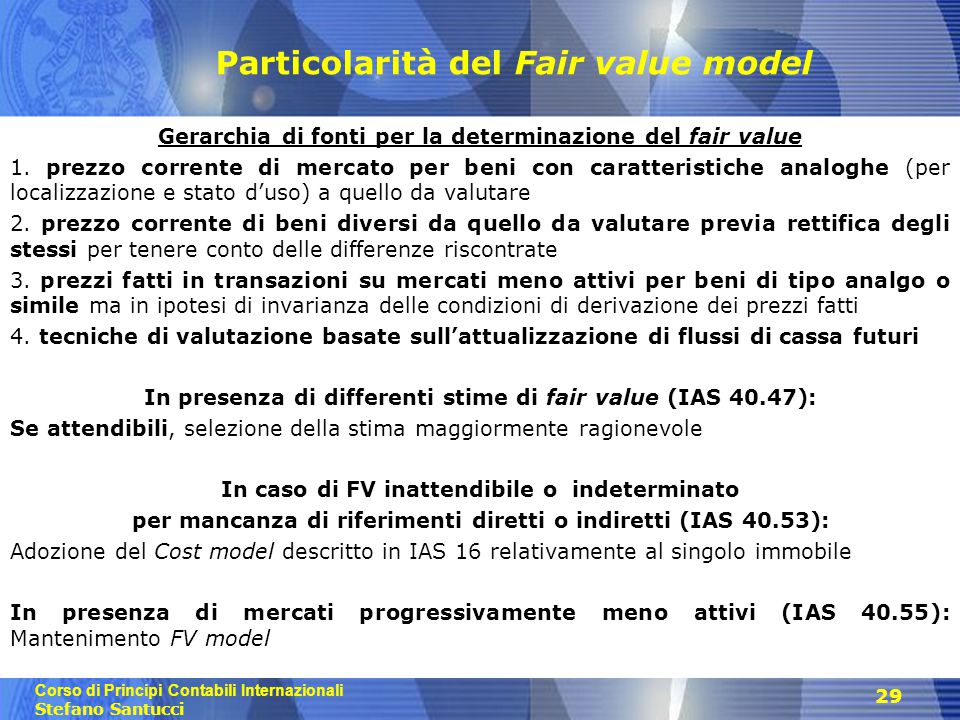 Particolarità del Fair value model