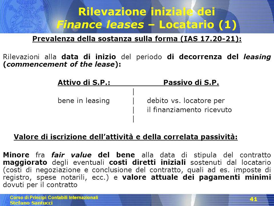Rilevazione iniziale dei Finance leases – Locatario (1)