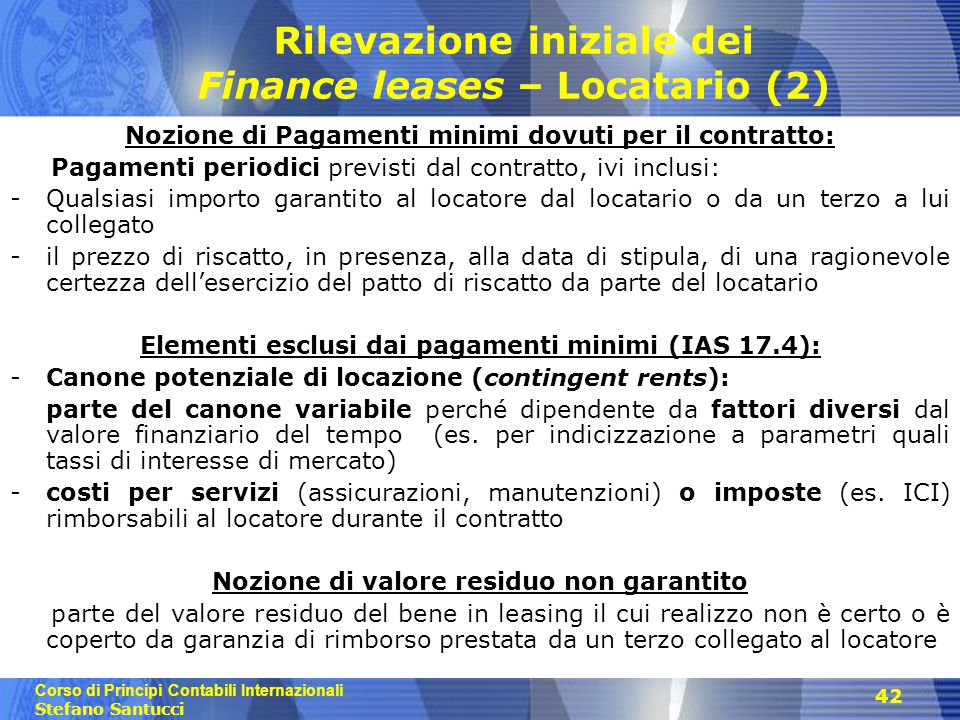 Rilevazione iniziale dei Finance leases – Locatario (2)