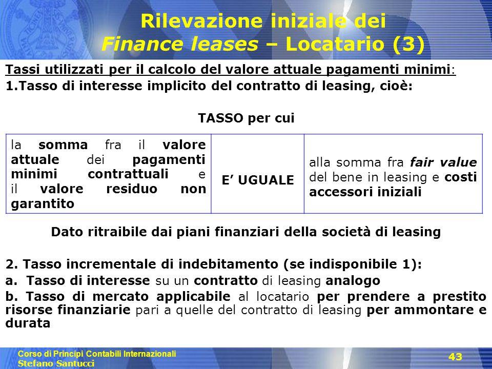 Rilevazione iniziale dei Finance leases – Locatario (3)