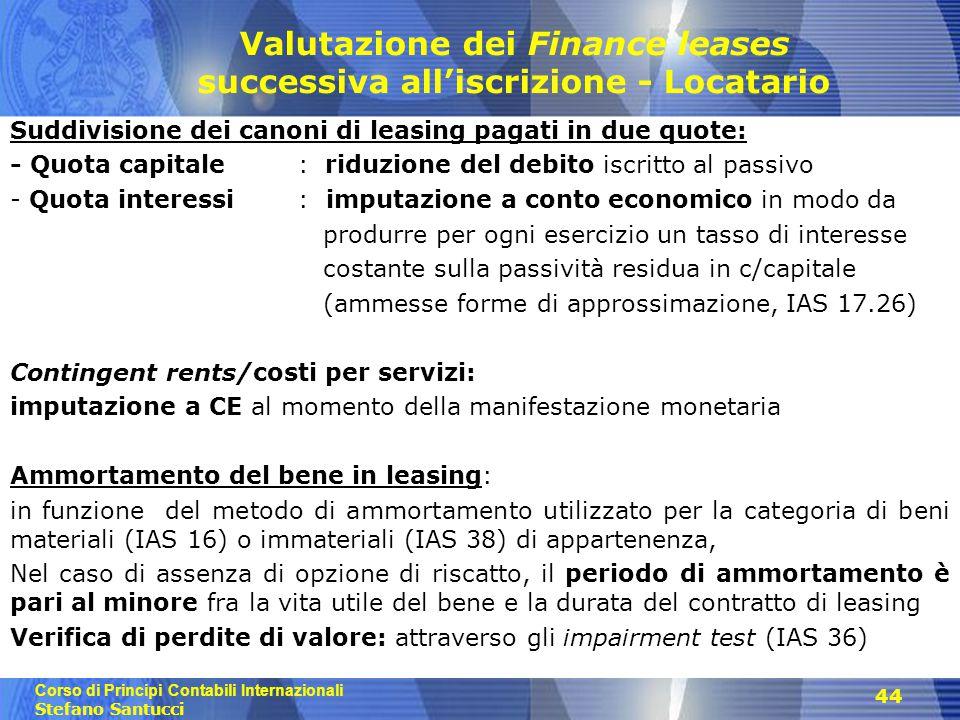 Valutazione dei Finance leases successiva all'iscrizione - Locatario