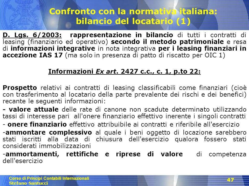 Confronto con la normativa italiana: bilancio del locatario (1)