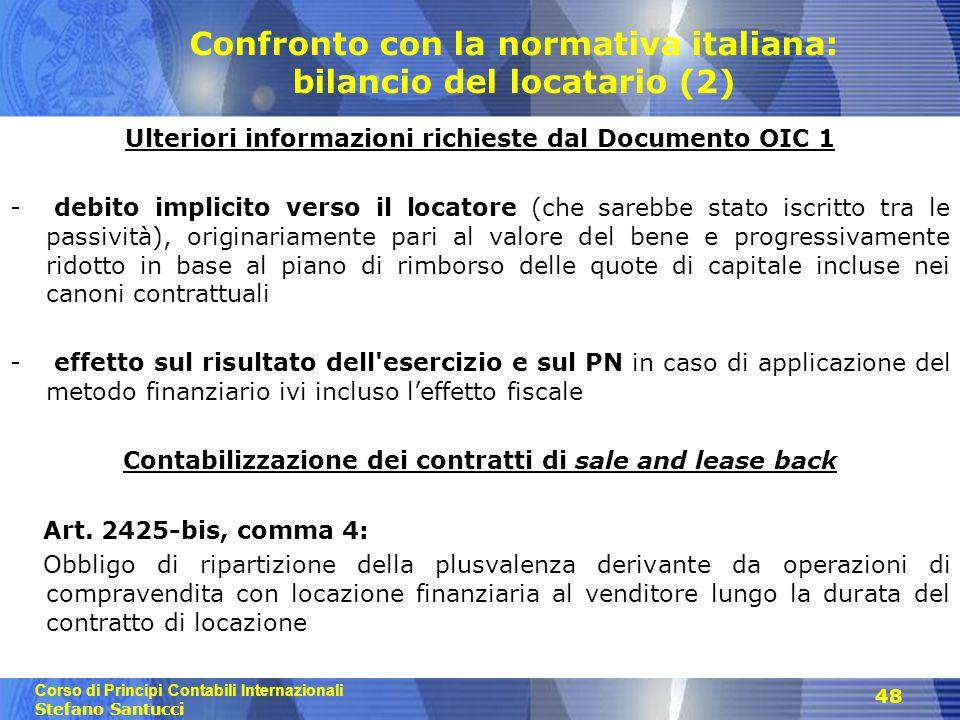 Confronto con la normativa italiana: bilancio del locatario (2)