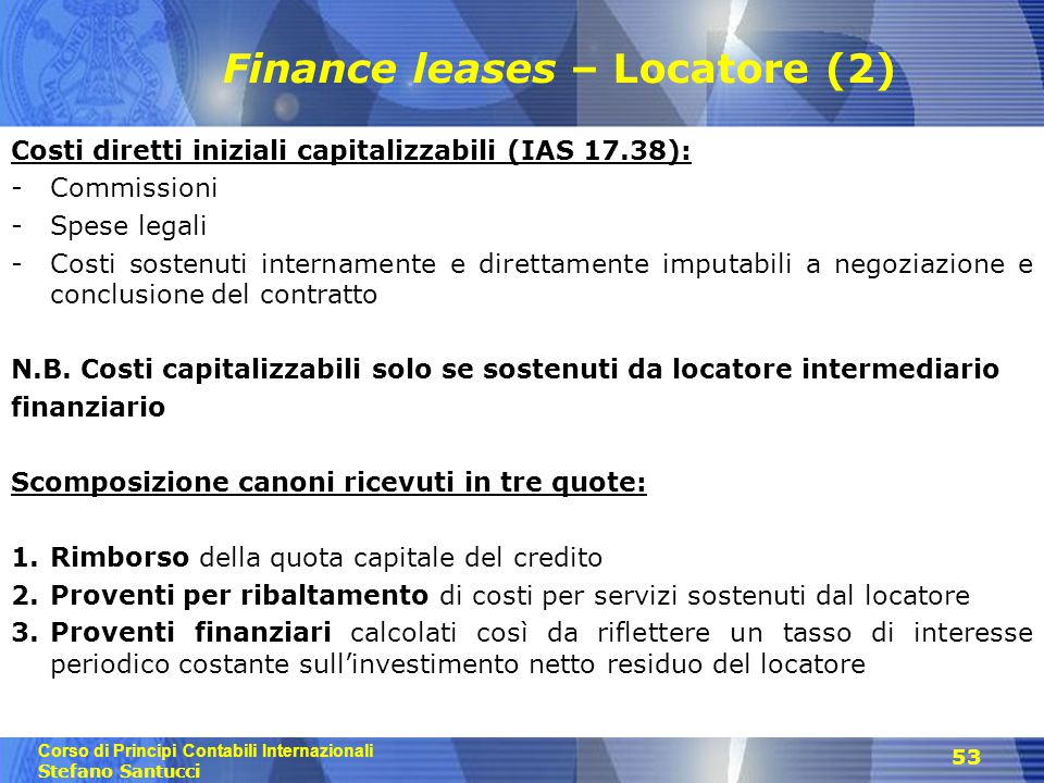 Finance leases – Locatore (2)