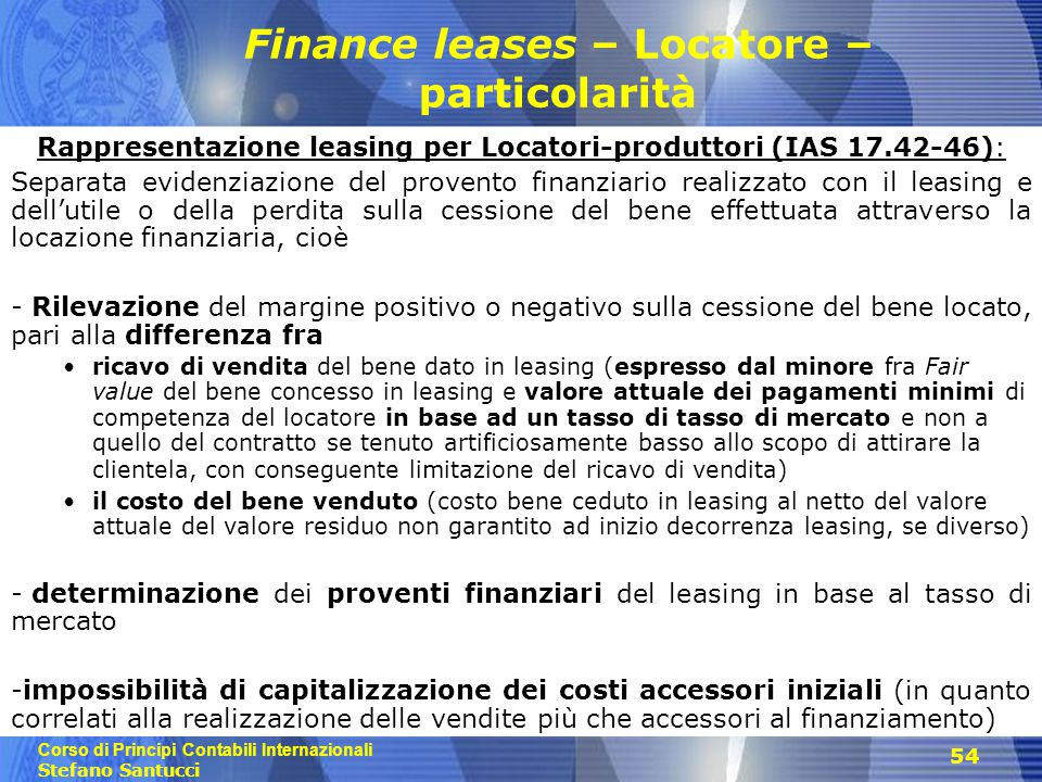 Finance leases – Locatore – particolarità