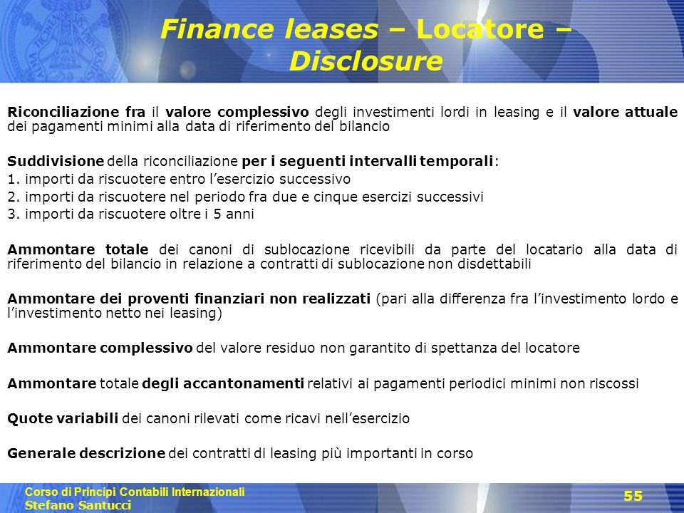 Finance leases – Locatore – Disclosure