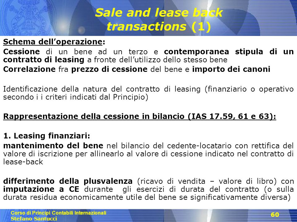 Sale and lease back transactions (1)