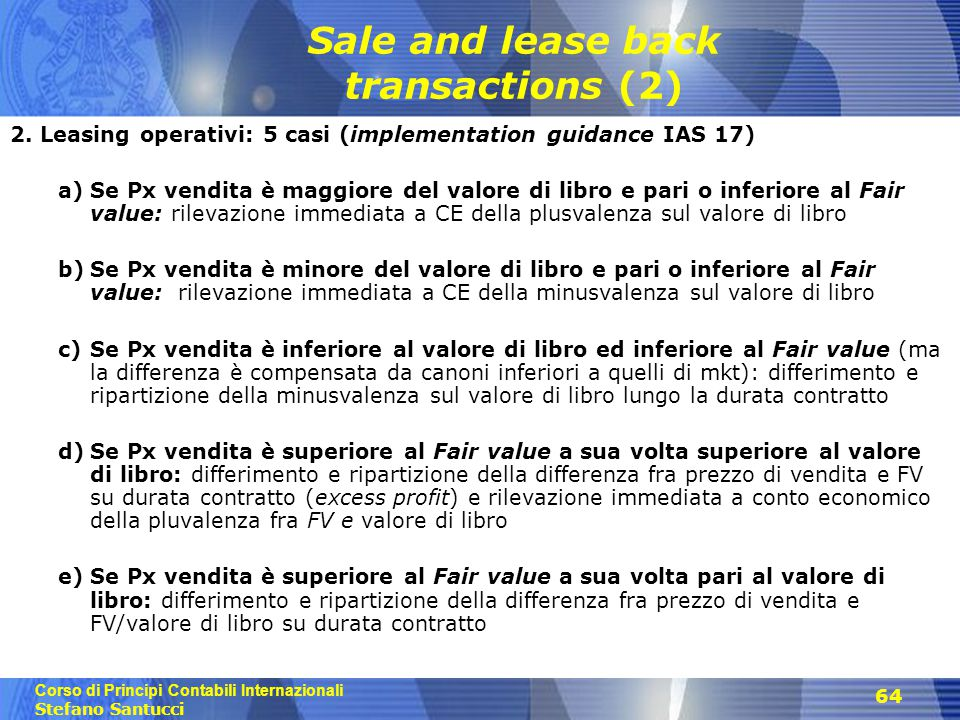 Sale and lease back transactions (2)