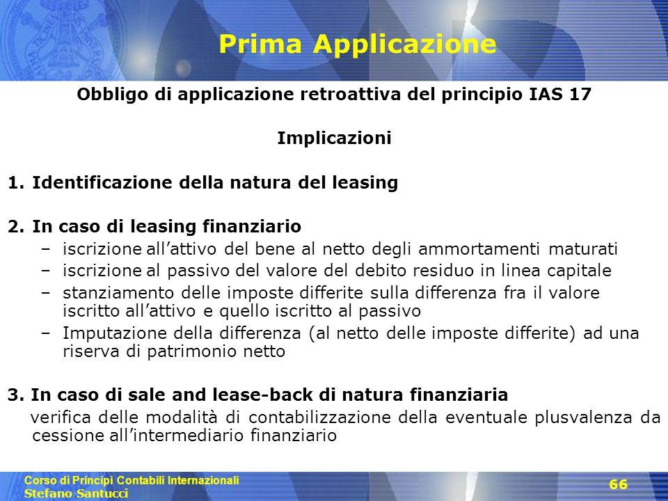 Obbligo di applicazione retroattiva del principio IAS 17
