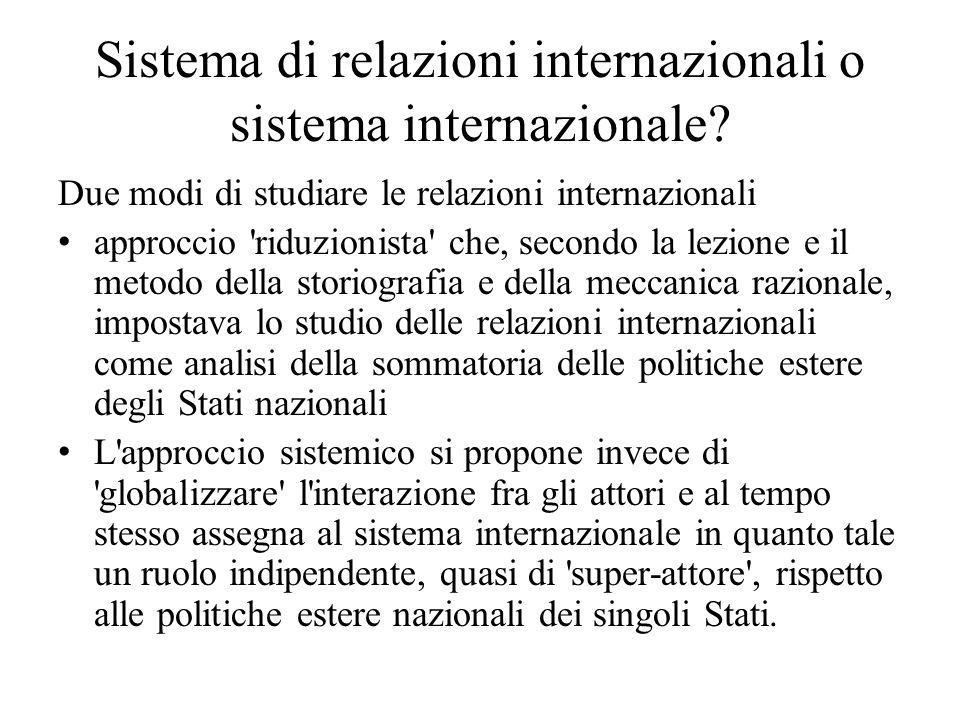 Sistema di relazioni internazionali o sistema internazionale