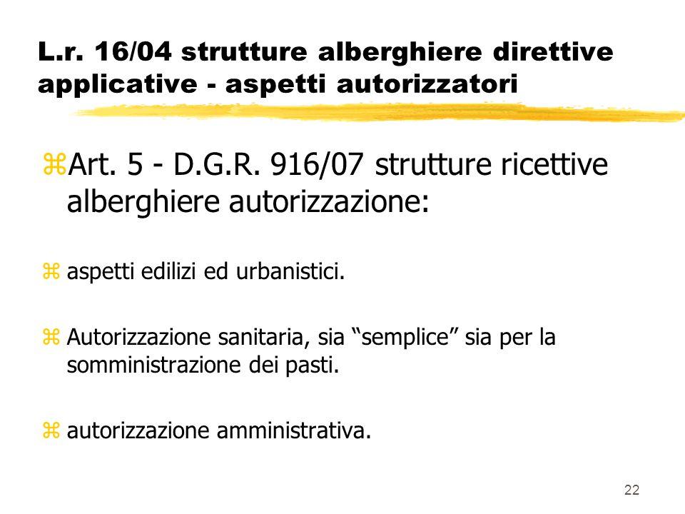 Art. 5 - D.G.R. 916/07 strutture ricettive alberghiere autorizzazione: