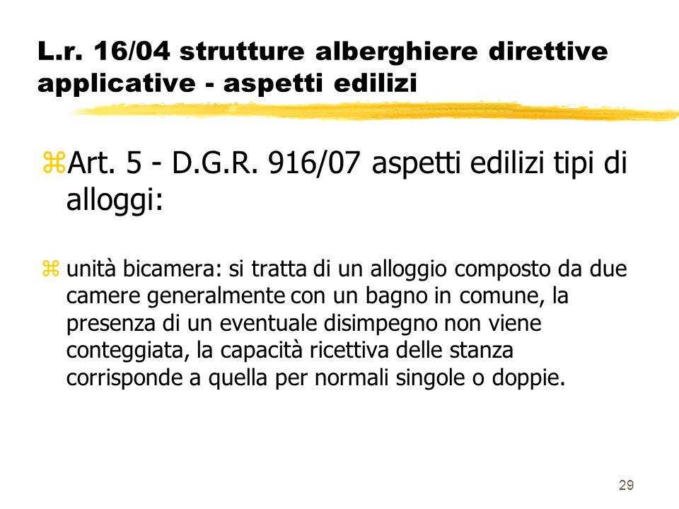 Art. 5 - D.G.R. 916/07 aspetti edilizi tipi di alloggi: