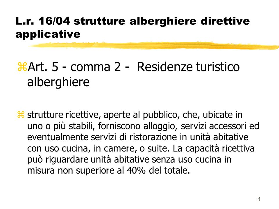 L.r. 16/04 strutture alberghiere direttive applicative