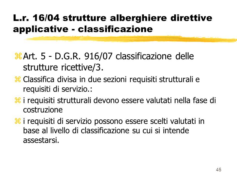 Art. 5 - D.G.R. 916/07 classificazione delle strutture ricettive/3.
