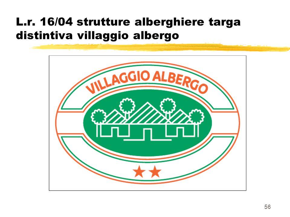 L.r. 16/04 strutture alberghiere targa distintiva villaggio albergo