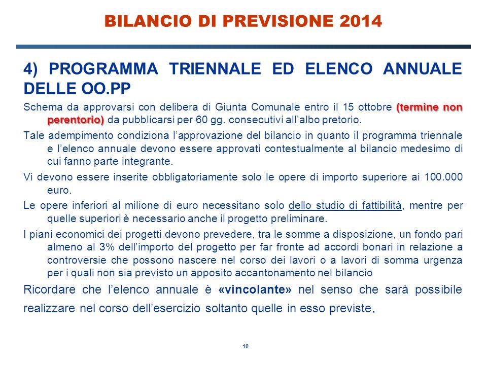BILANCIO DI PREVISIONE 2014