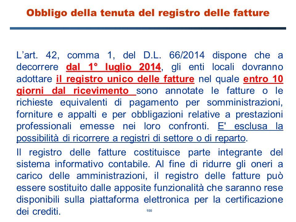 Obbligo della tenuta del registro delle fatture