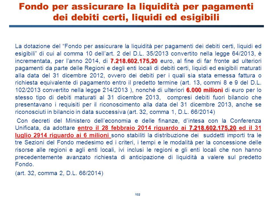 Fondo per assicurare la liquidità per pagamenti dei debiti certi, liquidi ed esigibili