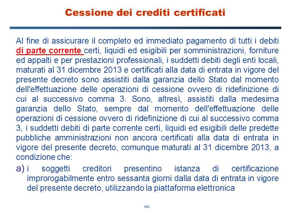 Cessione dei crediti certificati
