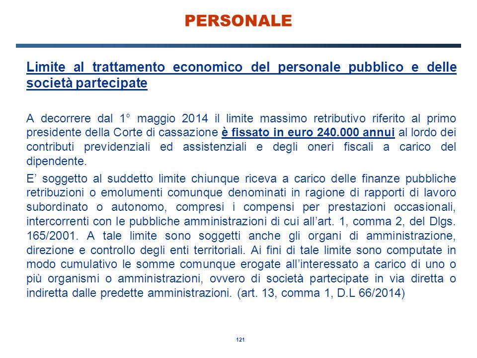 PERSONALE Limite al trattamento economico del personale pubblico e delle società partecipate.