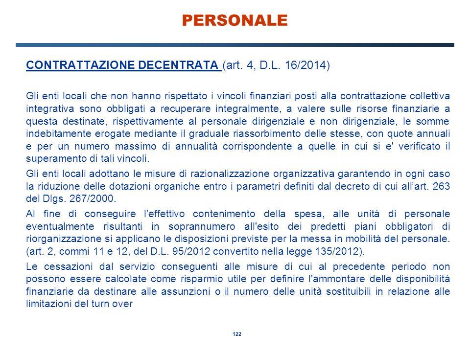 PERSONALE CONTRATTAZIONE DECENTRATA (art. 4, D.L. 16/2014)