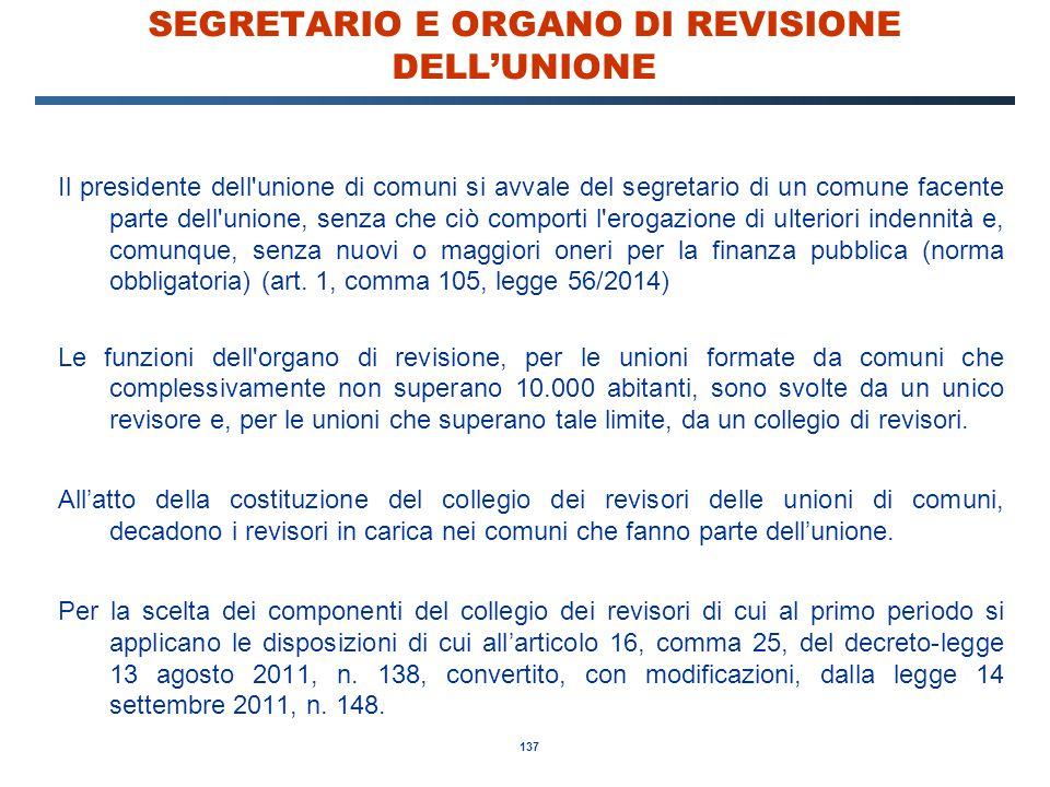 SEGRETARIO E ORGANO DI REVISIONE DELL'UNIONE