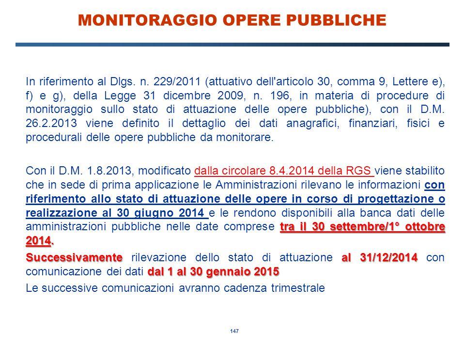 MONITORAGGIO OPERE PUBBLICHE