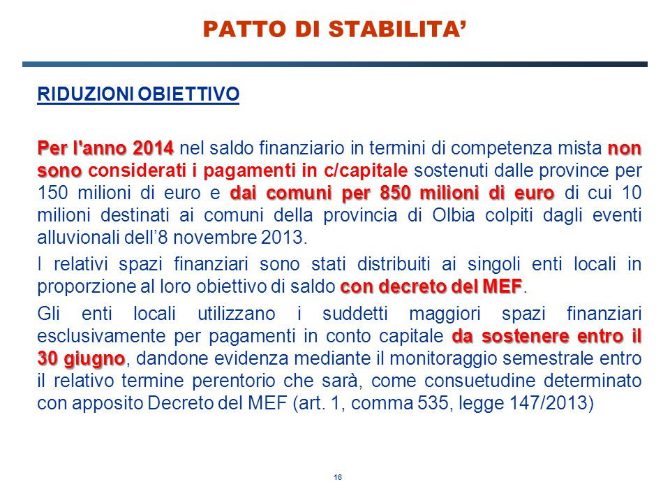 PATTO DI STABILITA' RIDUZIONI OBIETTIVO