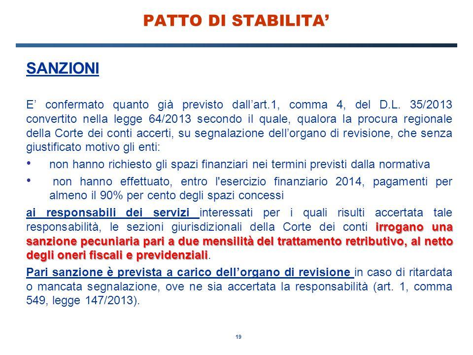PATTO DI STABILITA' SANZIONI