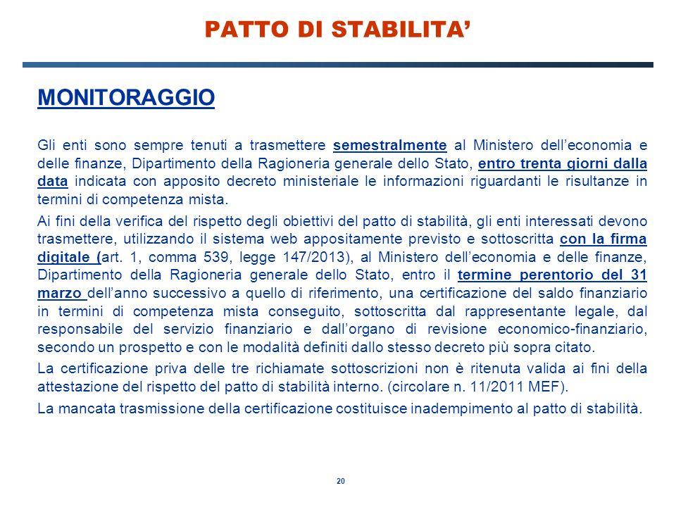 PATTO DI STABILITA' MONITORAGGIO