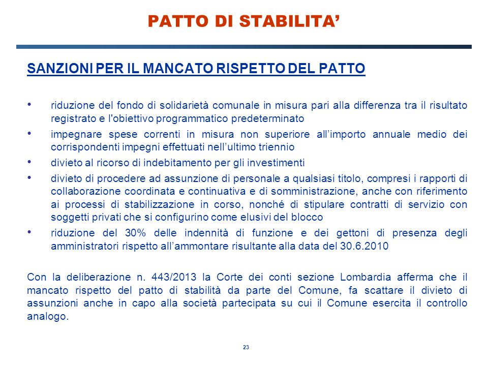 PATTO DI STABILITA' SANZIONI PER IL MANCATO RISPETTO DEL PATTO