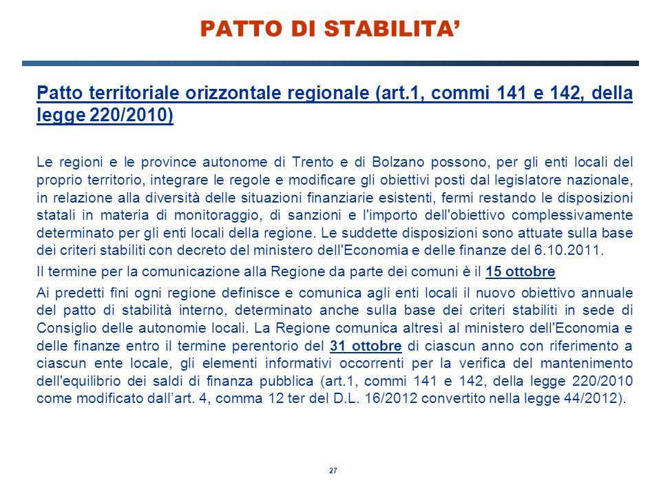 PATTO DI STABILITA' Patto territoriale orizzontale regionale (art.1, commi 141 e 142, della legge 220/2010)