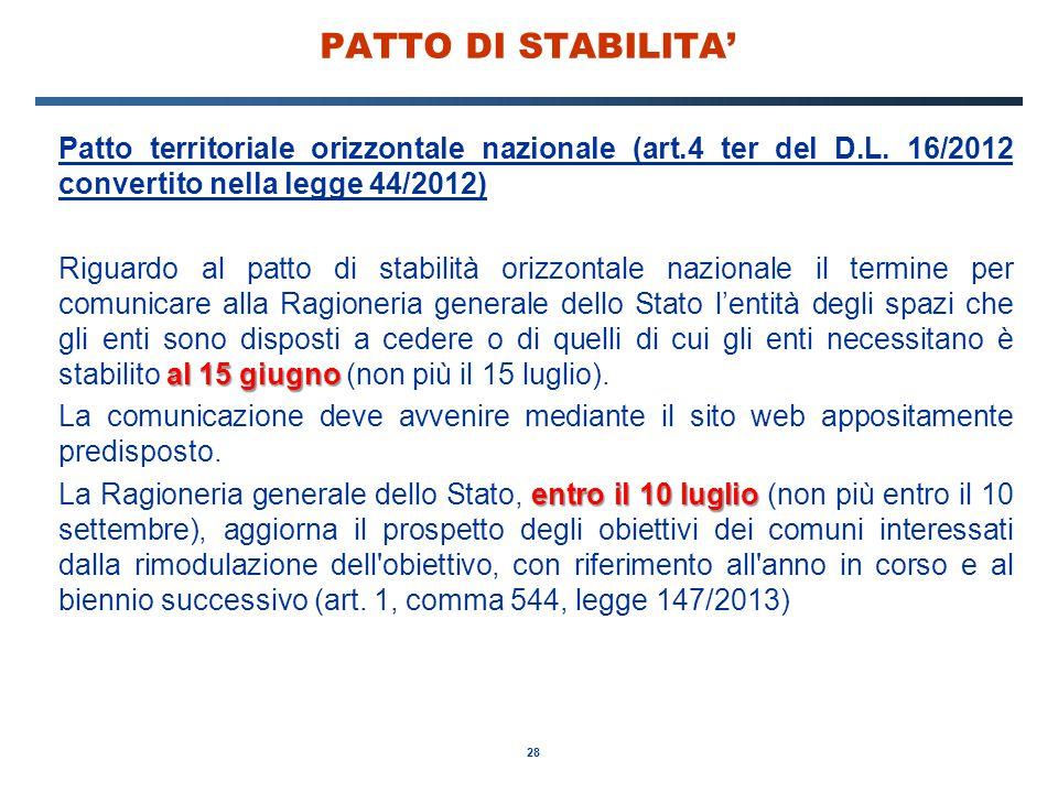 PATTO DI STABILITA' Patto territoriale orizzontale nazionale (art.4 ter del D.L. 16/2012 convertito nella legge 44/2012)