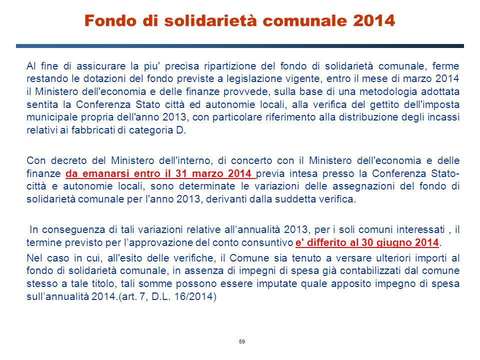 Fondo di solidarietà comunale 2014