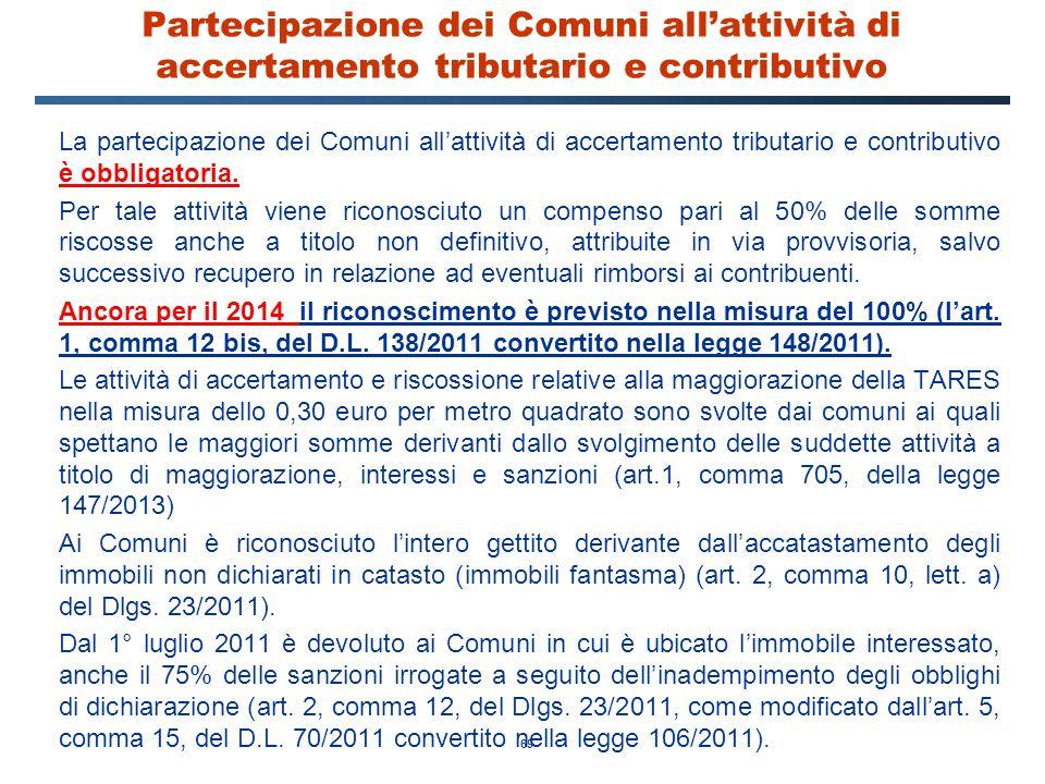 Partecipazione dei Comuni all'attività di accertamento tributario e contributivo