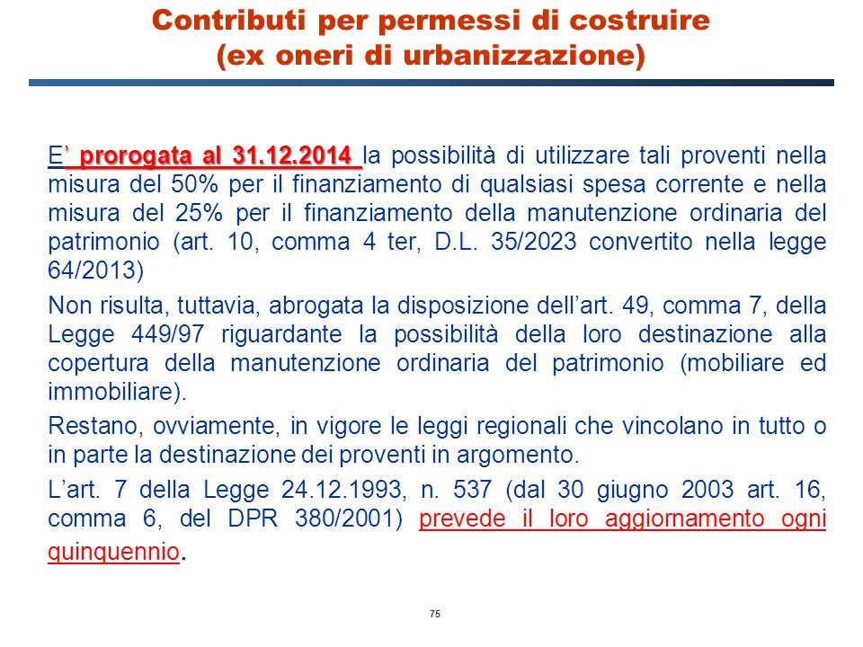 Contributi per permessi di costruire (ex oneri di urbanizzazione)