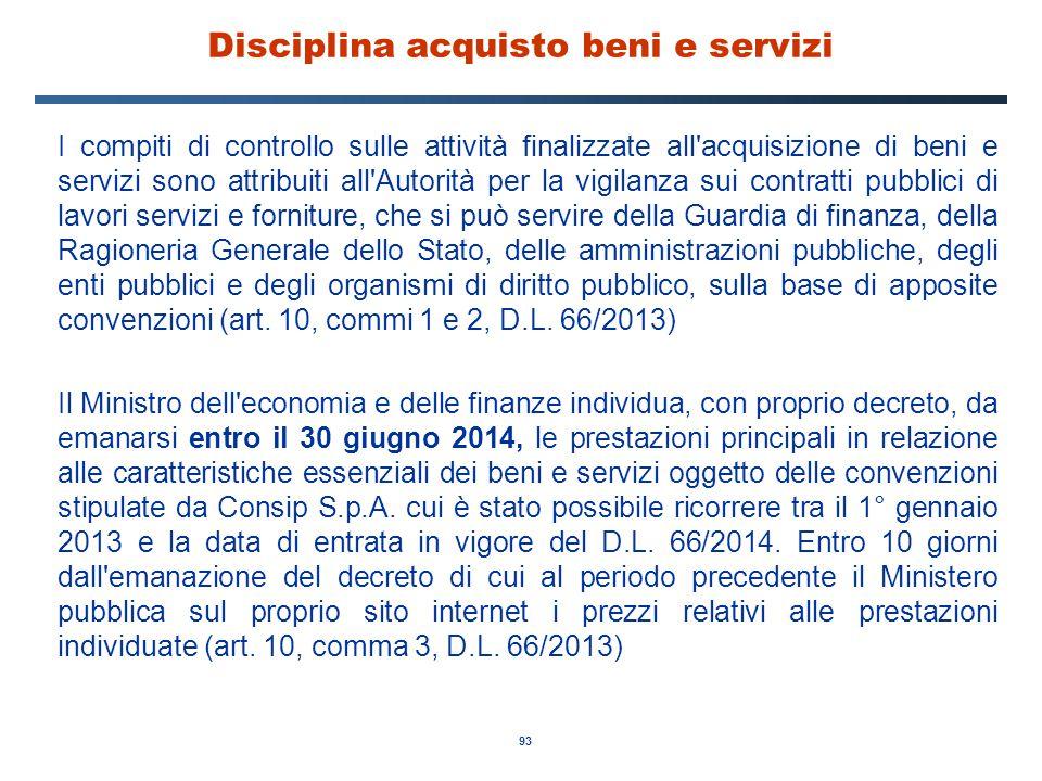 Disciplina acquisto beni e servizi