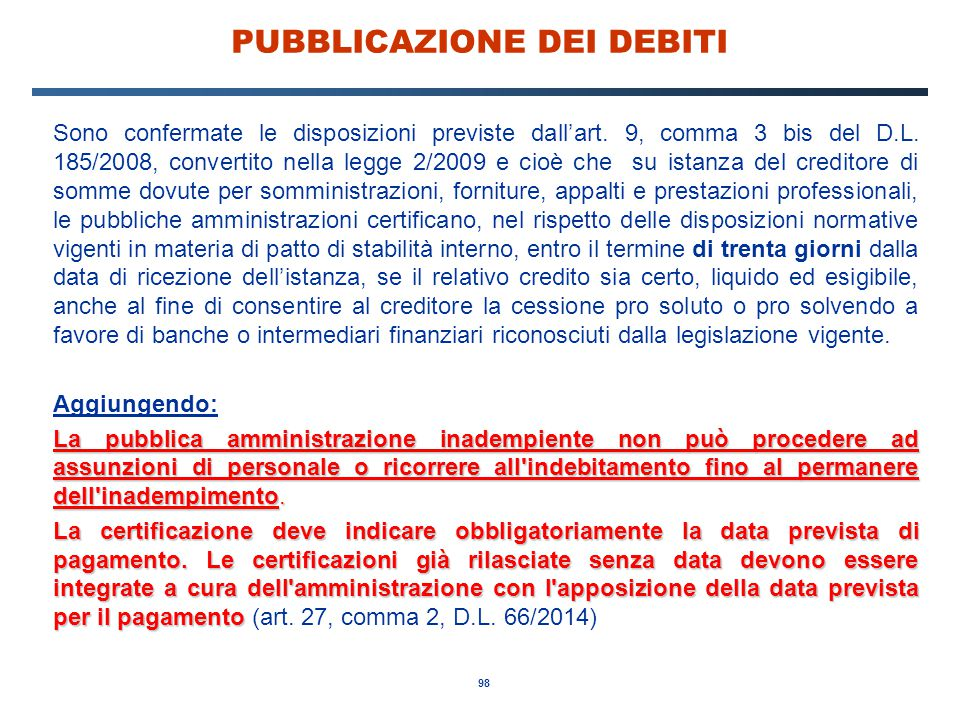 PUBBLICAZIONE DEI DEBITI