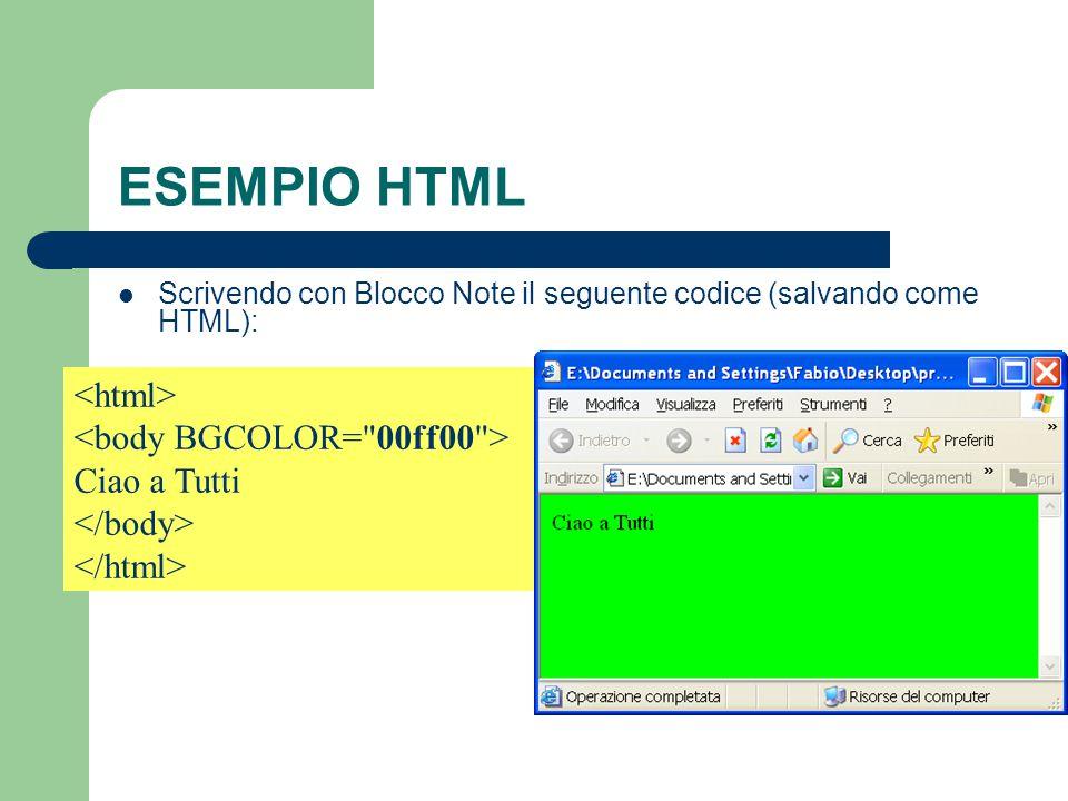 ESEMPIO HTML <html> <body BGCOLOR= 00ff00 > Ciao a Tutti