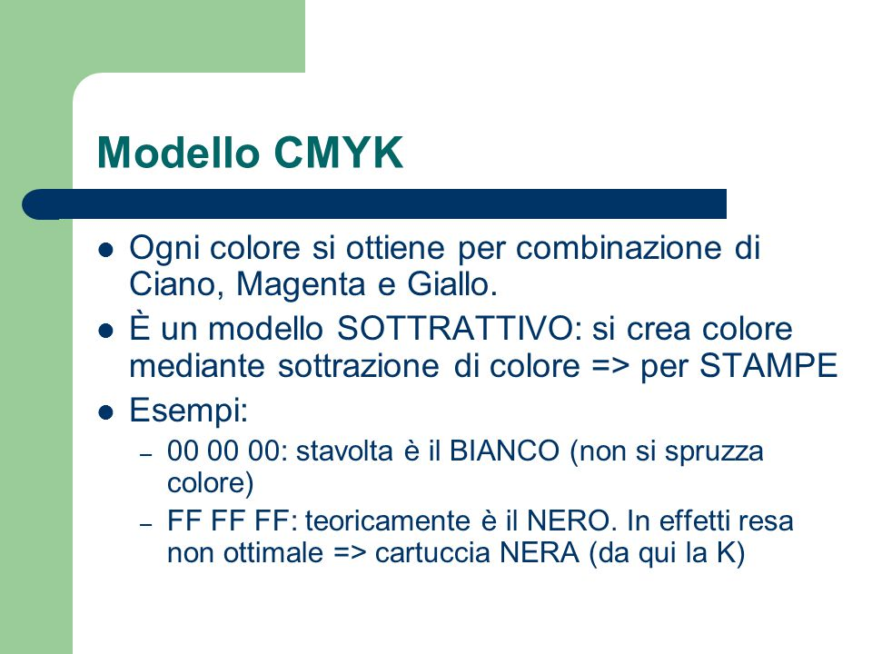 Modello CMYK Ogni colore si ottiene per combinazione di Ciano, Magenta e Giallo.