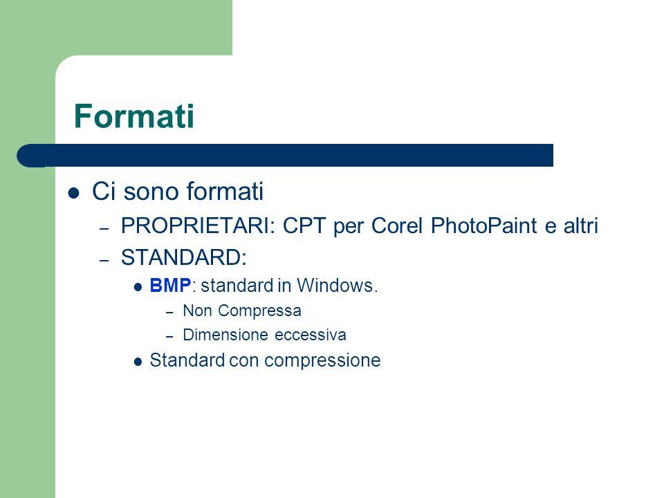 Formati Ci sono formati PROPRIETARI: CPT per Corel PhotoPaint e altri