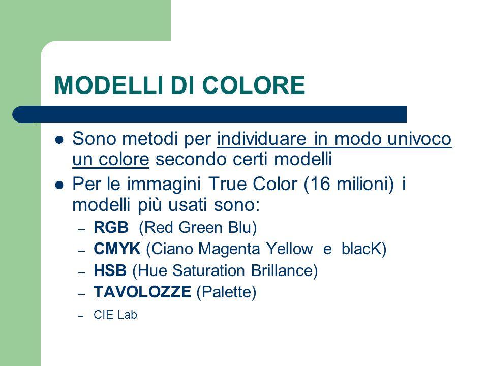 MODELLI DI COLORE Sono metodi per individuare in modo univoco un colore secondo certi modelli.