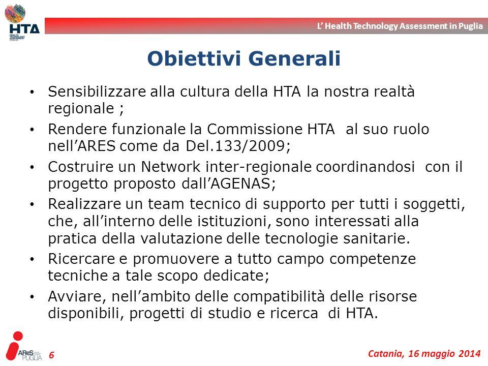 Obiettivi Generali Sensibilizzare alla cultura della HTA la nostra realtà regionale ;