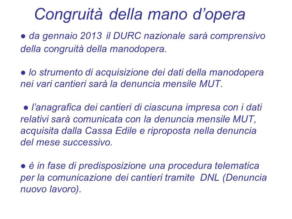 Congruità della mano d'opera ● da gennaio 2013 il DURC nazionale sarà comprensivo della congruità della manodopera.