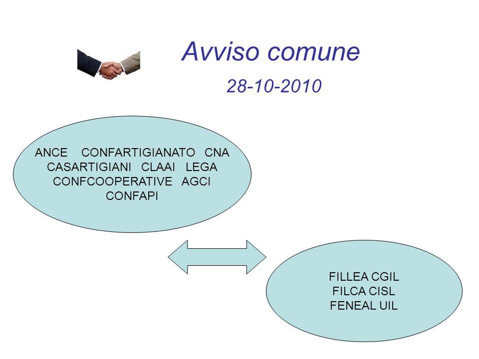 Avviso comune 28-10-2010 ANCE CONFARTIGIANATO CNA