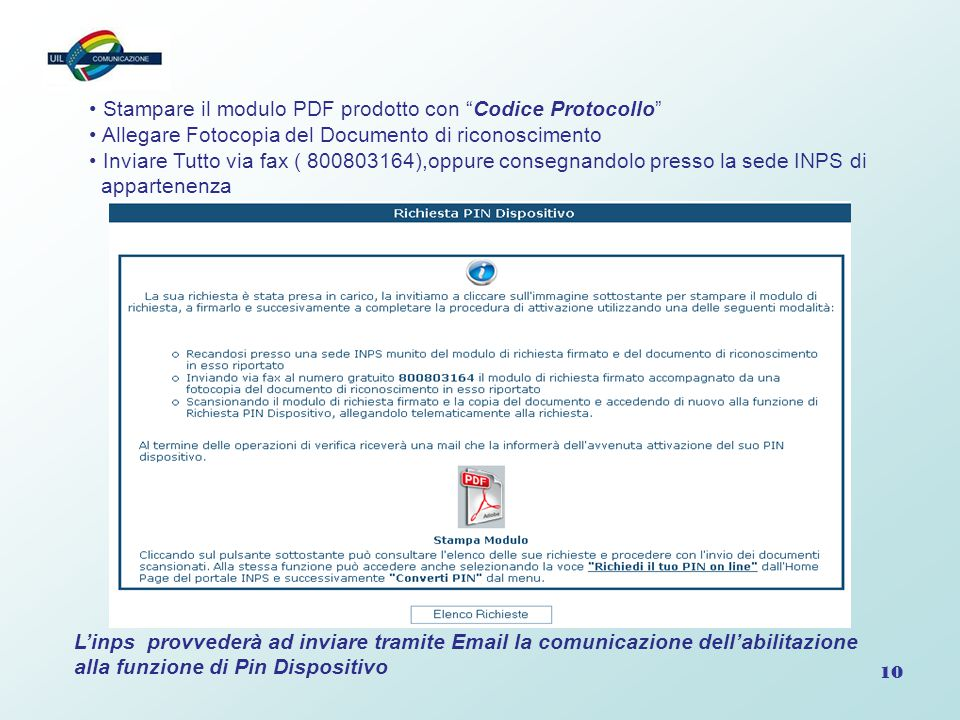 Stampare il modulo PDF prodotto con Codice Protocollo